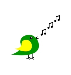 Cartoon bird sings vector