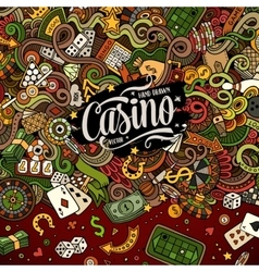 Cartoon doodles casino frame design vector image vector image