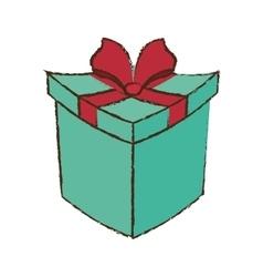 color gift box ribbon festive sketch vector image vector image
