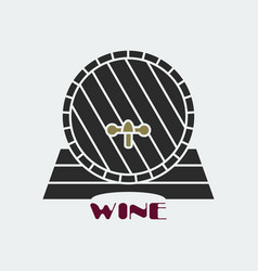 Dark wine barrel icon vector