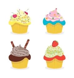 Delicious Cupcakes Set vector image vector image