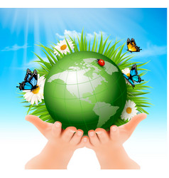 ecology conceptgreen globe and grass with vector image vector image