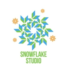 geometrical abstract snowflake logo vector image