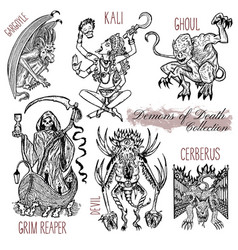 Hand drawn set with demons of death vector
