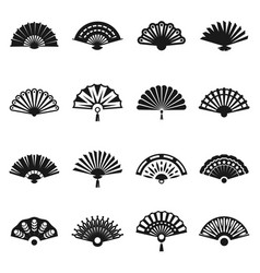 hand fan set vector image vector image