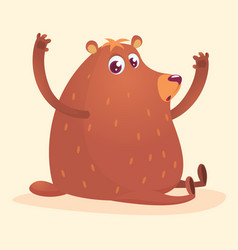 happy cartoon brown bear vector image