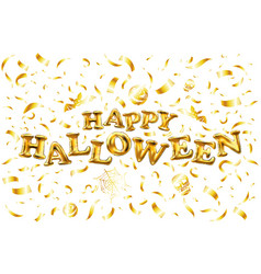 happy halloween gold glitter balloon lettering on vector image
