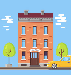 hotel building poster vector image vector image