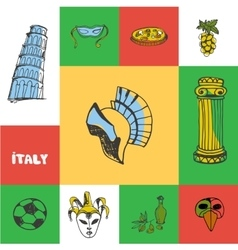 Italy Squared Doodle Concept vector image vector image