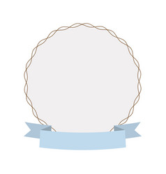 Label round decoration ribbon vector