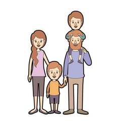 Light color caricature thick contour family vector
