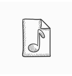 Musical note drawn on sheet sketch icon vector
