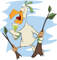 Parrot and champagne cartoon vector