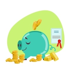 Piggy bank savings protected by insurance contract vector
