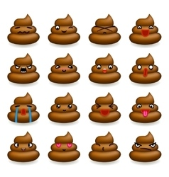 Poops Avatar Smile Emoticon Icons Set Isolated vector image