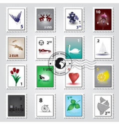 postage stamps color set eps10 vector image