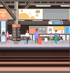 railway station platform with passengers waiting vector image