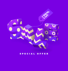 sale 3d sign purple vector image vector image