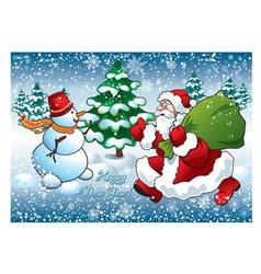 santa and snowman vector image