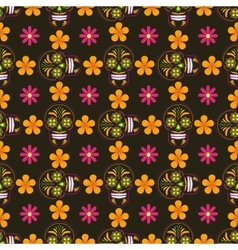 Seamless background with sugar skulls and flowers vector