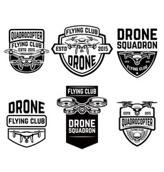 set of drone flying club emblems templates vector image vector image
