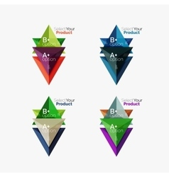 Set of triangle infographic layouts with text and vector