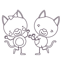 Sketch contour caricature with couple of kittens vector