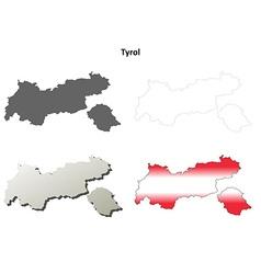 Tyrol blank detailed outline map set vector