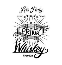 Whiskey label vintage hand drawn border vector