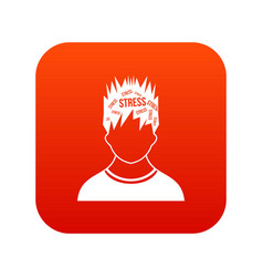 word stress in the head of man icon digital red vector image vector image