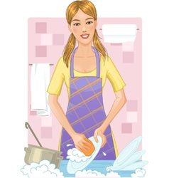 Young woman washing dishes vector