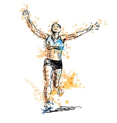 Colored hand sketch winning runner vector