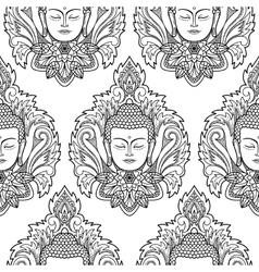 Buddha head and lotus seamless pattern vector
