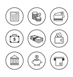 Set of line black finance icons vector