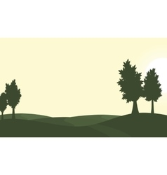 Silhouette of green hill and tree scenery vector