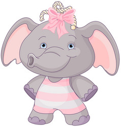 Cute baby elephant vector