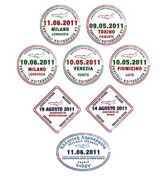 Europe passport stamps vector