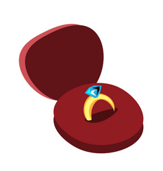Diamond engagement ring in box vector