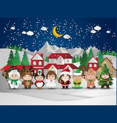 christmas cute kids vector image