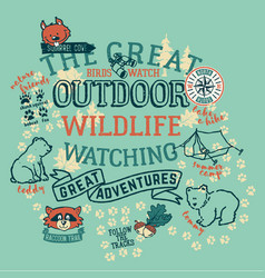 The great outdoor wildlife watching vector