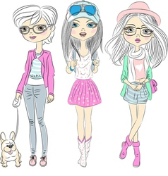 Set hipster beautiful fashion girls vector