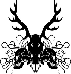 Deer skull and human skull composition vector