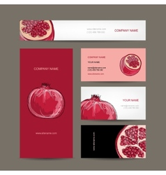 Set of business cards design pomegranate sketch vector