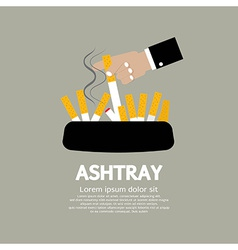 Ashtray with cigarette lighted vector