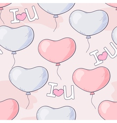 Hand drawn seamless pattern with heart balloons an vector