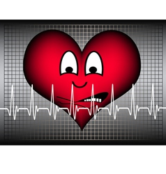 Heart afraid on grey white cardio line vector