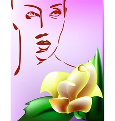 Woman with flower vector