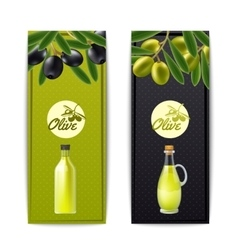 Olive oil vertical banners set vector