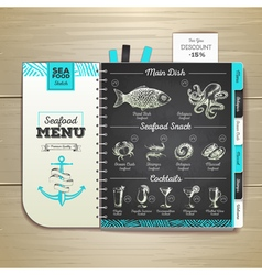 Vintage chalk drawing seafood menu design vector