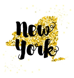 Golden glitter of the state of New York vector image